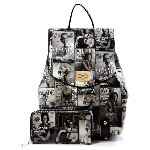 Obama Magazine Cover Collage Backpack Michelle Obama Purse
